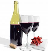 Wine Bottle, Glasses and Gift-eps