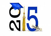 foto of tassels  - Blue graduation hat with gold tassel and diploma for class of 2015 - JPG