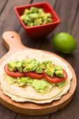 Tortilla with Lettuce, Tomato and Avocado