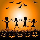 Halloween Kids Indicates Trick Or Treat And Children