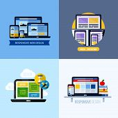 Modern Flat Vector Concepts Of Responsive Web Design. Icons Set For Websites and printed materials