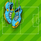 picture of brasilia  - illustration of hanging shoe in Football background - JPG