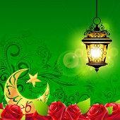 picture of eid ka chand mubarak  - illustration of illuminated lamp on Eid Mubarak  - JPG