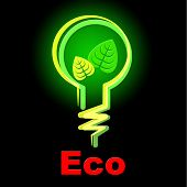 Light Bulb Indicates Earth Day And Eco