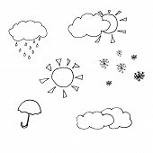 stock photo of hurricane clips  - weather sketch icons - JPG