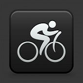 Bicycle Icon on Black and White Button