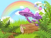 picture of fairy-mushroom  - Fantasy landscape with mushrooms and flowers - JPG