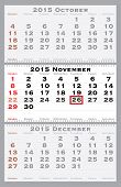 2015 november with red dating mark - current marked holiday is Thanksgiving Day- vector illustration