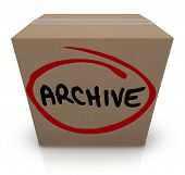 Archive word written on a cardboard box full of records, files or other items stored away