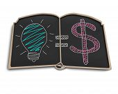 Book Shape Blackboard With Idea Is Money Doodles