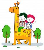 Small boy and girl with giraffe.