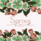 floral card with the word spring