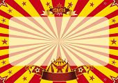 Circus horizontal red and yellow. a circus vintage poster for your advertising. Horizontal backgroun