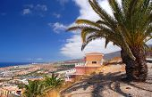 picturesque outstanding landscape of beautiful resort playa de las americas on tenerife, canary isla