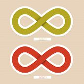 Red and Green Paper Vector Infinity Symbols