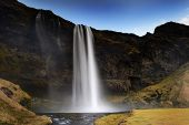View on Seljalandsfoss, waterfall
