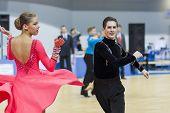 Minsk-belarus, February, 22: Unidentified Dance Couple Performs Youth-2 Latin-american Program On Mi
