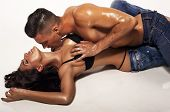 image of hot couple  - fashion photo of sexy impassioned couple wearing jeans - JPG
