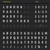 picture of analogy  - Airport departure arrival destination mechanical analog counter board template illustration - JPG