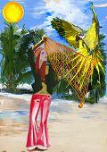 Huntress Parrots (digital Painting)