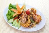 stock photo of green papaya salad  - deep fried shrimp with Green papaya salad - JPG