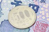 stock photo of japanese coin  - money currency image of 500 japanese yen coin - JPG