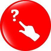 Question Mark Sign Icon With People Hand. Help Symbol. Faq Sign. Style Buttons