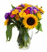 posy of mixed autumn flowers