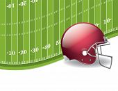 American Football Field And Helmet Background