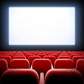 3d render illustration blank template of empty cinema hall with white wide display and red velvet ch