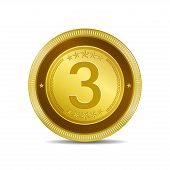 3 Number Circular Vector Gold Web Icon Button