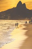 image of ipanema  - Warm Sunset on Ipanema Beach with People Rio de Janeiro Brazil - JPG