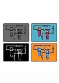 stock photo of mixing faucet  - The flat drawing piping system included meter box and tubes - JPG