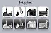 Landmarks of Switzerland. Set of monochrome icons. Editable vector illustration.