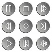 Media player web icons , grey  stickers set