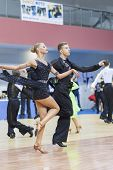 Minsk-belarus, February, 23: Unidentified Dance Couple Performs Youth-2 Latin-american Program On Op