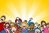 image of cartoon people  - Cartoon of people cheering in amazement shouting and cheering - JPG