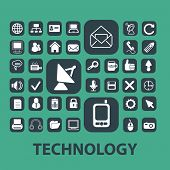 technology, internet, phone, mail, communication icons, signs set, vector