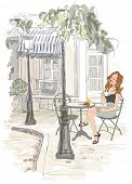 Montmarte in Paris - woman on holiday having breakfast at a terrace of an hotel - vector illustratio