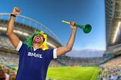 picture of wig  - Brazilian fan with wig and stadium horn celebrating at stadium - JPG