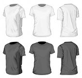 Men's white and black short sleeve t-shirt design templates (front and half-turned views). Vector illustration.