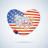 Stylish heart shape covered in national flag colors on blue background for 4th of July, American Ind