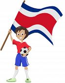 Happy soccer fan holds Costa Rica flag