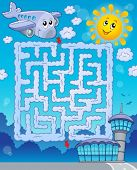 Maze 2 with airplane - eps10 vector illustration.