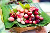 Karanda Fruit, Carissa Carandas L On Banana Leaf Background