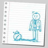 Businessman chained with clock