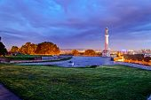 stock photo of serbia  - Belgrade fortress and Victor monument at night Belgrade Serbia - JPG