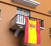 Balcony with Spanish flag