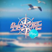 Travel type design with compass rose against a defocused background with sea cruise liner and seagul