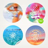 Summer holidays and tropical vacation - set of colorful sticker with type design on a defocused back